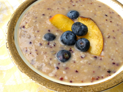 Nectarine and blueberry oatmeal
