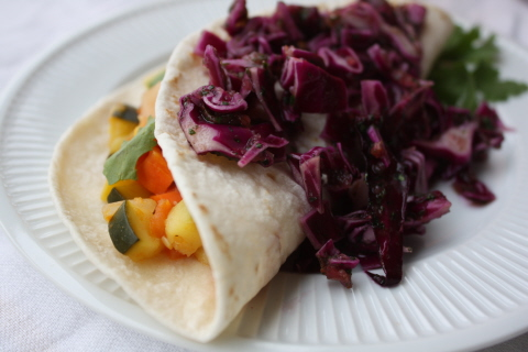 Vegan Veggie Tacos with Red Cabbage Slaw
